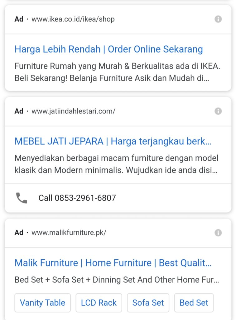 Google Adwords Furniture Jepara